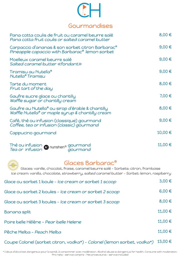 Restaurant Club House Golf de Beauvallon carte menu summer 2019
