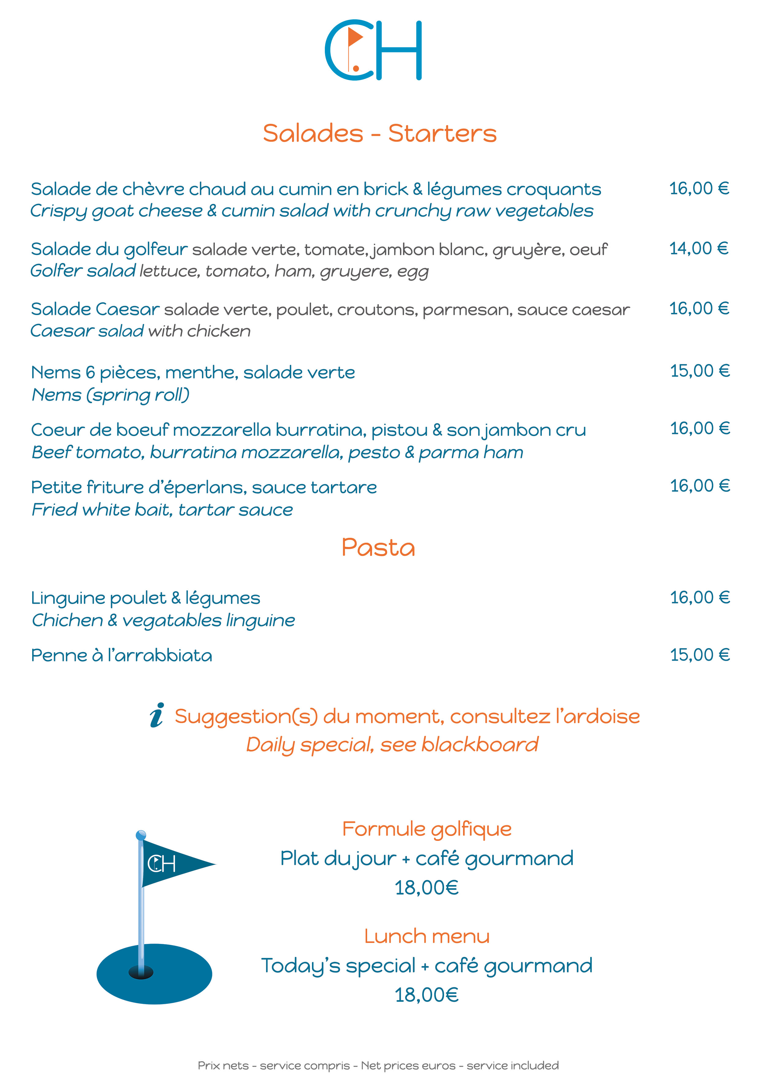 Restaurant Club House Golf de Beauvallon carte menu summer 2019