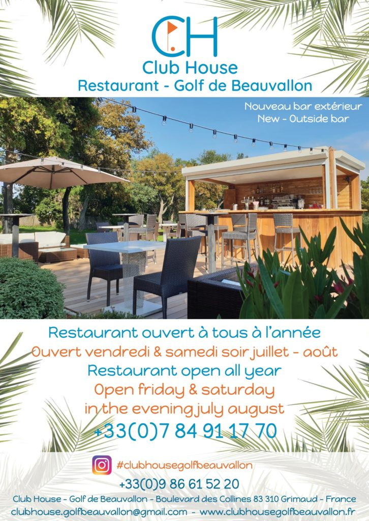 Restaurant Club House Golf de Beauvallon summer 2019