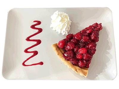 Club House Restaurant - service gourmandises tarte framboise visuel
